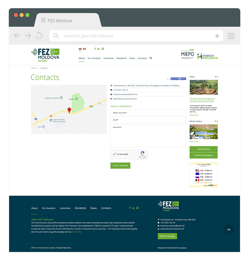 Free Economic Zones of the Republic of Moldova - website development